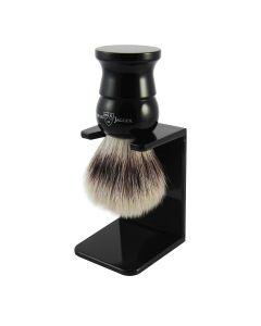 Edwin Jagger English Shaving Brush Small Silvertip Fibre - Zwart