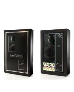 Edwin Jagger Boxed Gift Set Black Fibre Shaving Brush In Black & Sandalwood Shaving Cream