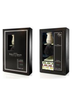 Edwin Jagger Boxed Gift Set Black Fibre Shaving Brush In Ivory &Sandalwood Shaving Cream